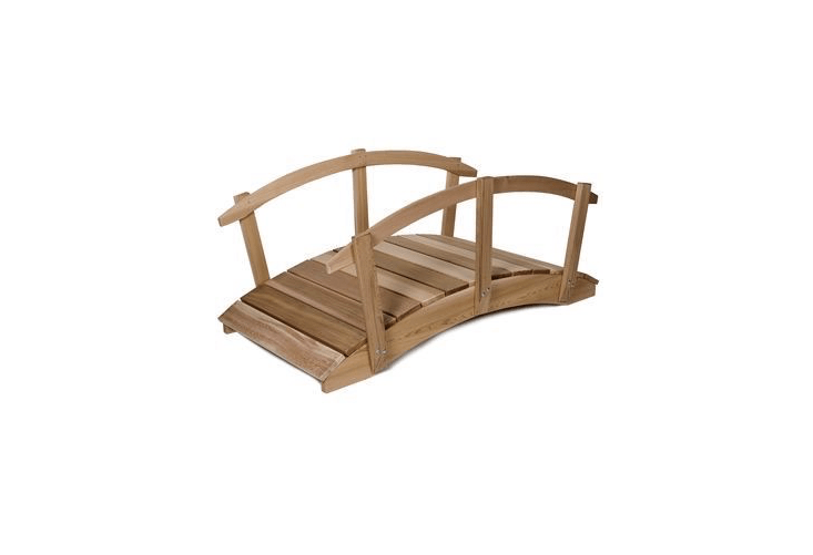 A \1\2-foot Large Red Cedar Ornamental Garden Pond Bridge with Hand Rails, constructed of western red cedar, comes with hand rails and assembly instructions; \$\1,\299.99 from Garden Gnomes Etc.