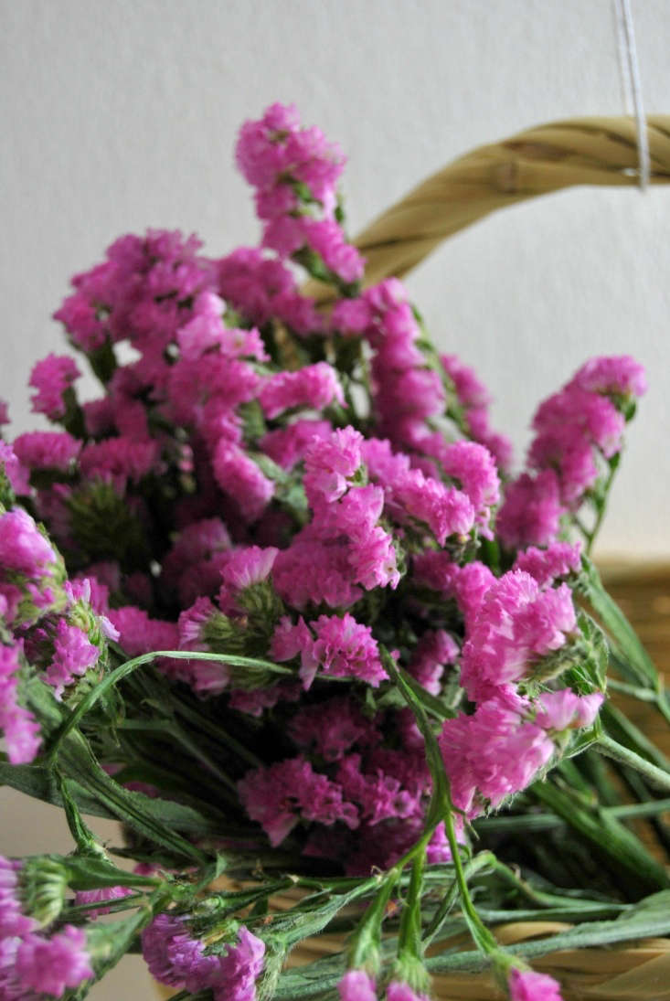 When arranging statice, arrange by color and try to stay away from traditional, mixed-color bunches.
