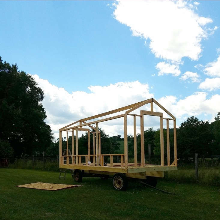 Dunn designed and built the farm&#8\2\17;s mobile coop on site and scaled it to fit on a found wheel base from an old hay wagon. It&#8\2\17;s approximately eight feet wide and \16 feet long (\200 square feet inside). Here, the frame has just been completed.