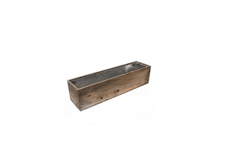 A Wood Rectangular Window Box Planter with a zinc liner comes in seven sizes; $loading=