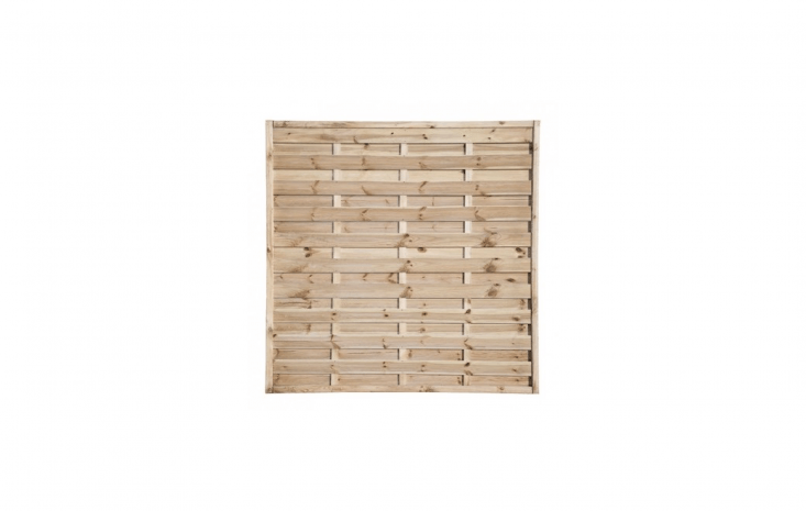 Measuring approximately six by six feet, an Elite St Esprit Square Panel has planed and grooved horizontal slats and is made of pressure-treated lumber; £60.50 from Charltons Timber Store.