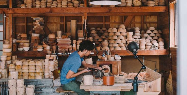 WoodturnerYoshio Sakai foundedRokurosha in \20\14; he works in a studio inFukui Prefecture in western Japan.