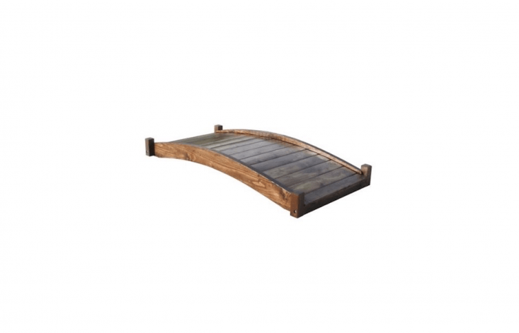 An arched, six-foot Japanese Style Wood Garden Bridge has tongue-and-groove flooring for a smooth surface underfoot. Made of American Douglas fir, spruce, and redwood, it&#8\2\17;s \$6\16.56 from Farm & Garden Superstore.