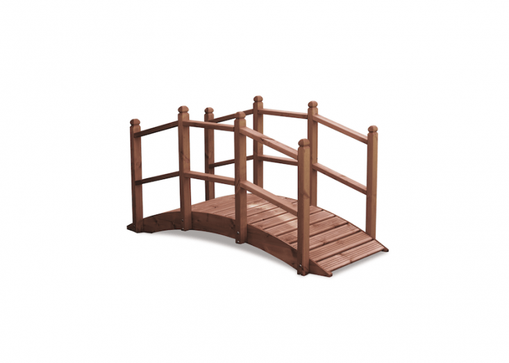 A six-footWooden Garden Bridge, handmade in England of FSC-certified wood, has nonslip treads and railings; £\299.99 from UK Gardens.
