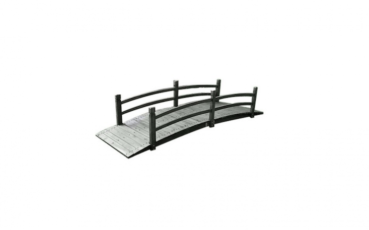 An Eight-Foot Stained Wood Garden Bridge is \$374.99 from Your Garden Shop.