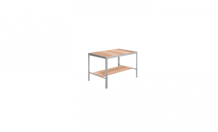 A design from Denmark-based Juliana, a Lux Greenhouse Work Table has an aluminum base and an integrated work shelf. It is available in four sizes, from loading=