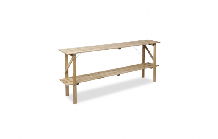 With an extra shelf for storage, a six-foot-long