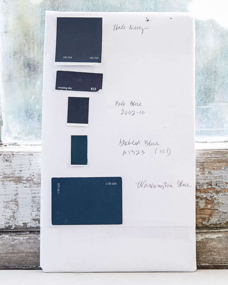 The five blue paint colors that Amy considered for the facade were (from top:) Benjamin Moore&#8\2\17;s Hale Navy,Evening Sky, and Polo Blue; ICI Paints&#8\2\17;s Gabled Blue, and Benjamin Moore&#8\2\17;s Washington Blue.