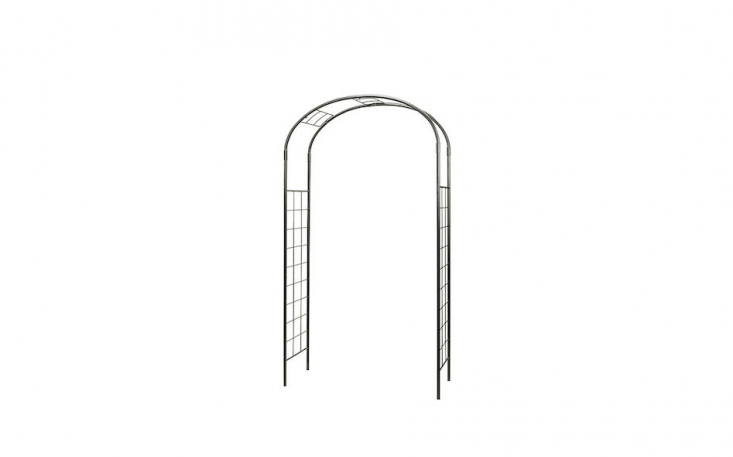 A generously-sized arched Artistic Wrought Iron Arbor is powder-coated for weather protection. It comes with four ground stakes and measures 55 inches wide and 0 inches high; $4 from Monticello Shop (allow up to four weeks for delivery).