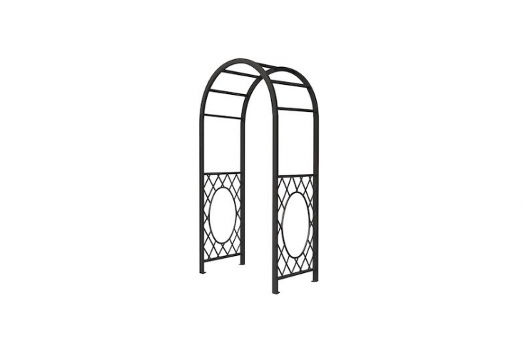 A Round Top Steel Arch made by Bosmere in a powder-coated gray finish is seven feet, two inches wide; $