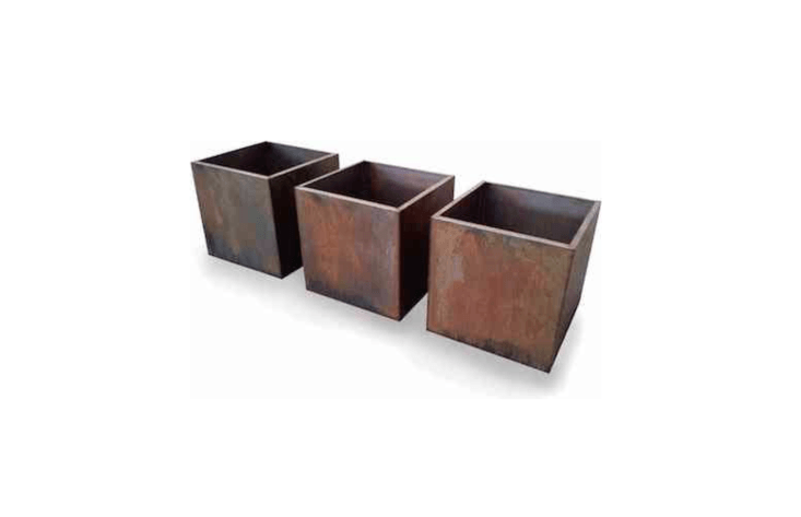 Corten Steel Fully Welded Cubes are available in a range of sizes and shapes. For more information and pricing, see Bespoke Planters.