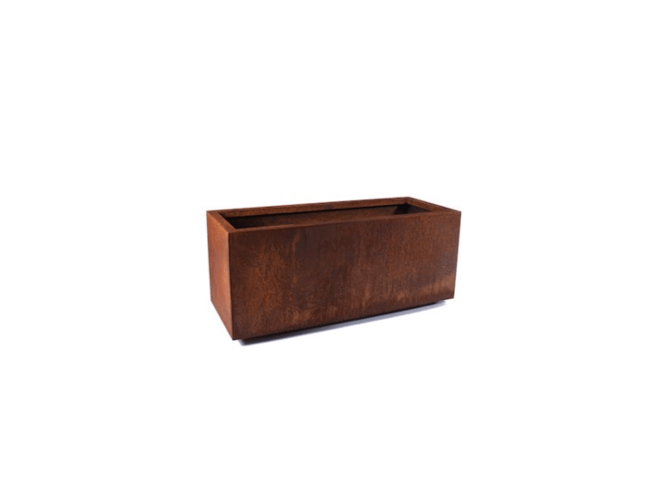 A rust-coloredCorten Steel Long Box Planter comes in three sizes; starting at \$\1\19.99 at Veradek.