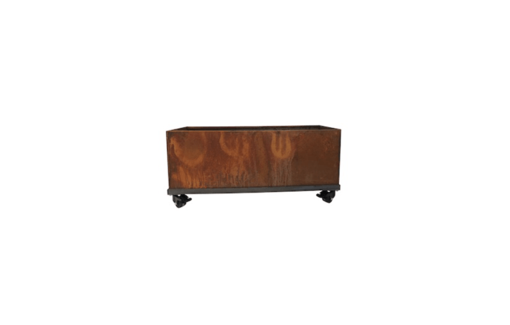 A portable \16-inch Corten Steel Planter Box on wheels comes with a set of four casters; \$480.99 at All Modern.