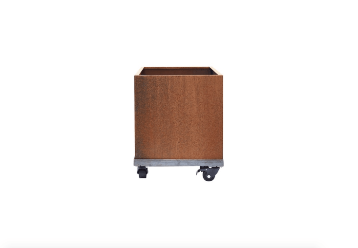 A Nice Corten Square Planter has drainage holes, comes in two sizes and can be customized, with or without casters. Prices range from $9.99 to $349.99, depending on the model at Nice Planter.