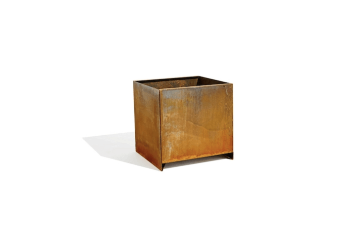 A True Square Planter Box is available in a Cor-ten steel finish in two sizes (\16 and \20 inches) is currently out of stock at Planterworkx. For more information, see Planterworkx.