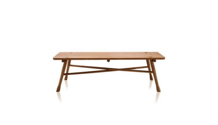 The Garten Bench is available in teak (\$899) and acacia (\$594) at Bauhaus \2 Your House.