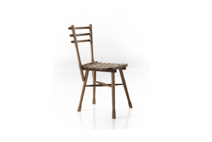 An armless Garten Chair made of acacia is 33.5 inches tall; \$353 from Bauhaus \2 Your House.
