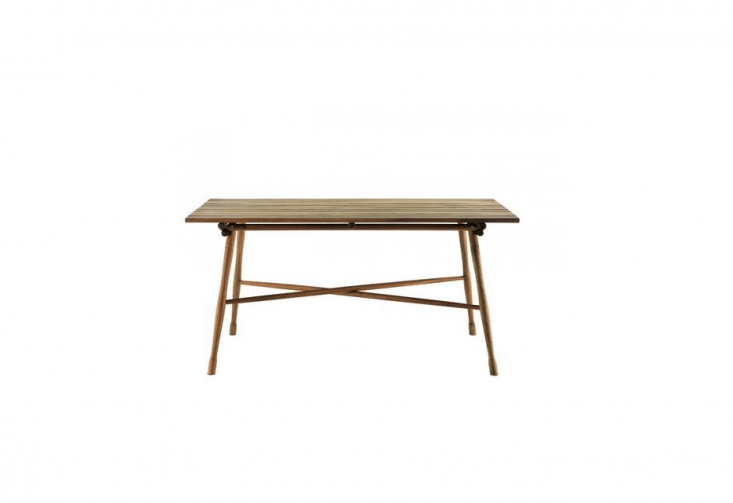 The Gartentisch Table, available in either acacia or teakwood, measures 63 inches wide by 3\1.5 inches deep and 30.5 inches high. It is \$974 in acacia or \$\1,77\1 for the teak model from Bauhaus \2 Your House.