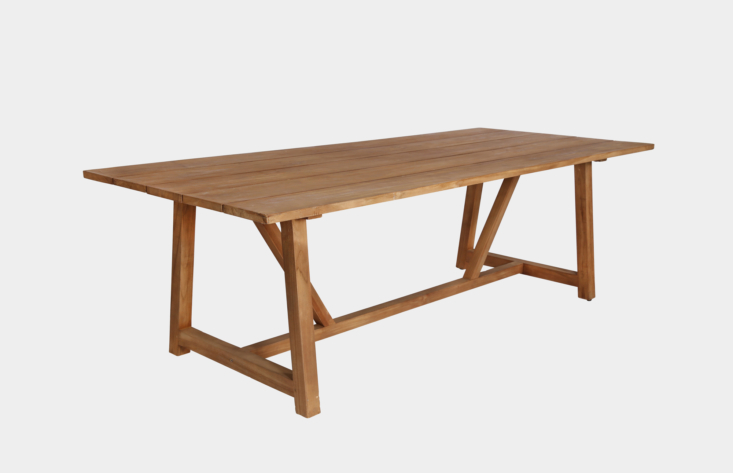 AGeorge Table Outdoorwith a trestle base is approximately 94.4 inches long and made of recycled teak. It is ,890 SEK from Artilleriet.