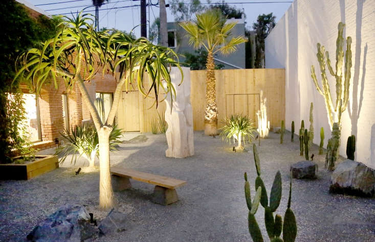 Specimen plants have uplights trained on them to create visual impact at night. (See more ideas at Hardscaping loading=