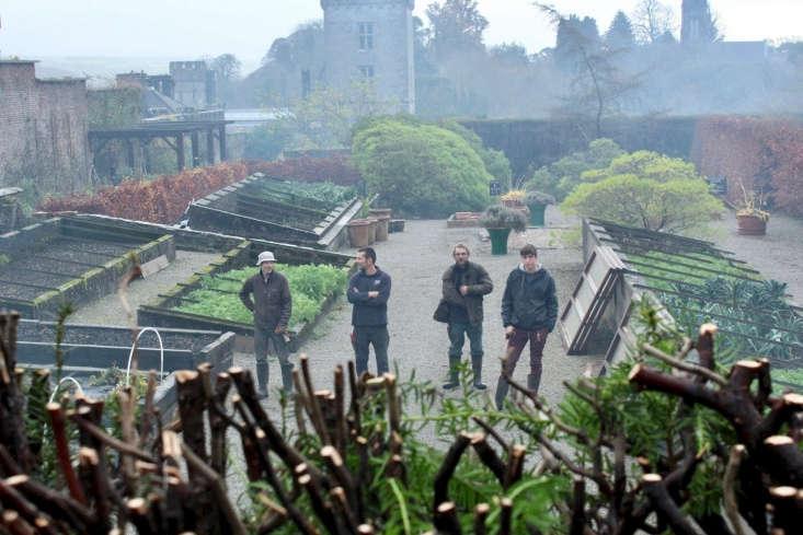 Lee, far right. Next to him, from right to left is garden supervisor Matthew Tull, head gardener Darren Topps and kitchen gardener Mervyn Hobbs. Photographed by Lismore&#8