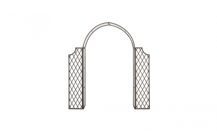 A weather-resistant Outdoor Iron Arch measures 87.8 inches high and 68.5 inches wide (including the two -inch side panels); $4.4loading=