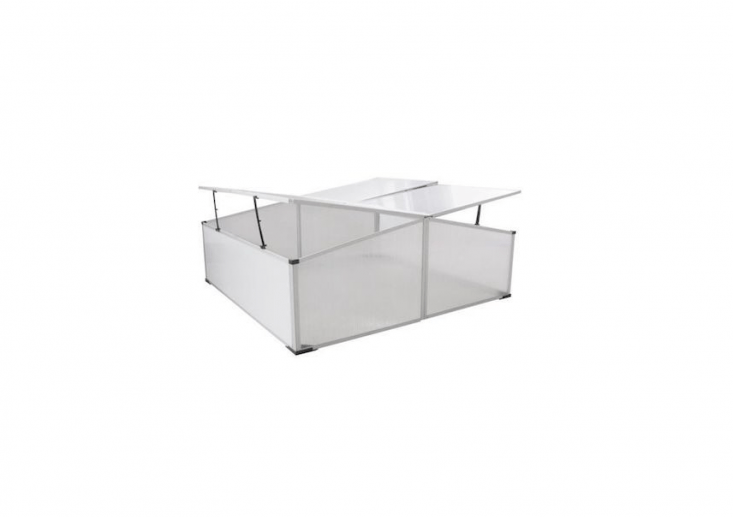 Slightly larger than the model shown above, a four-lidded, waterproof aluminum Cold Frame greenhouse is £40.99 from Mano Mano.