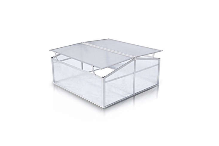 AnAluminium Frame Greenhouse measures 0 by 0 centimeters (about 39 by 39 inches) and has a double-sided lid. For more information and prices, see Vertak.