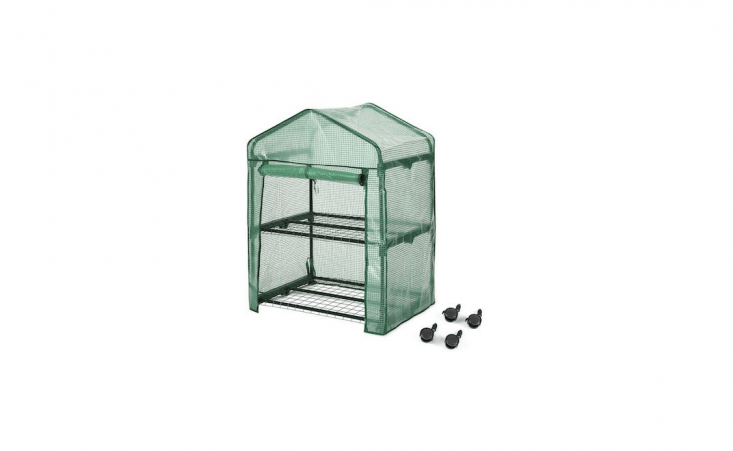 A two-tier Portable Greenhouse with wheels (and lockable brakes) has a tear-proof PVC cover and is $39.99 from Amazon.