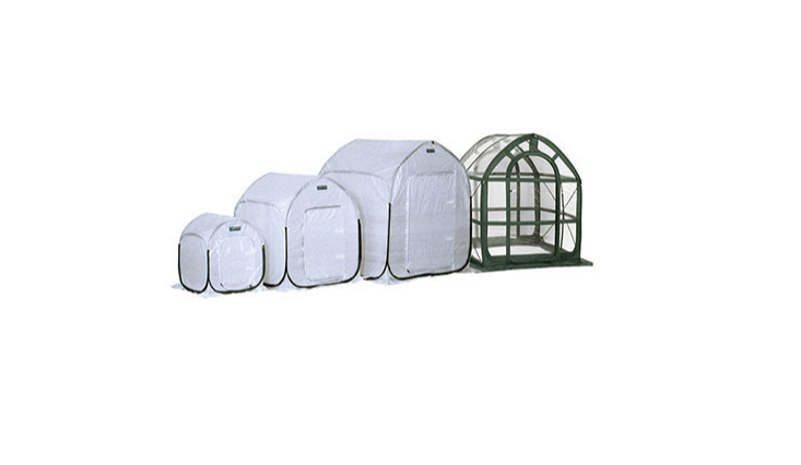 A waterproof square PlantHouse Portable Greenhouse is available in five sizes ( to 60 square inches) and comes with stakes to secure it to the ground. Prices range from $34 to $0 at Greenhouse Megastore.