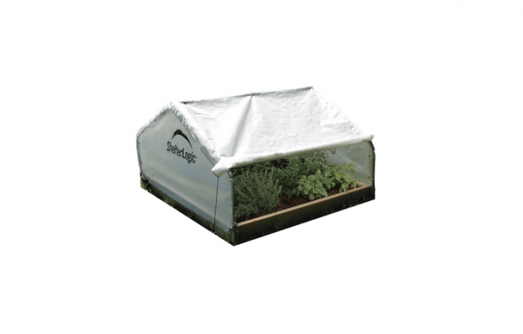 AGrowIT BackYard Raised Bed Greenhouse has a steel frame and tension ropes to hold a roll-up cover in place; $59.99 from Shelter Logic.