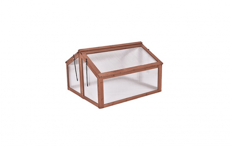 A Portable Wooden Cold Frame Greenhouse by Giantex measures 35.4 by 3loading=