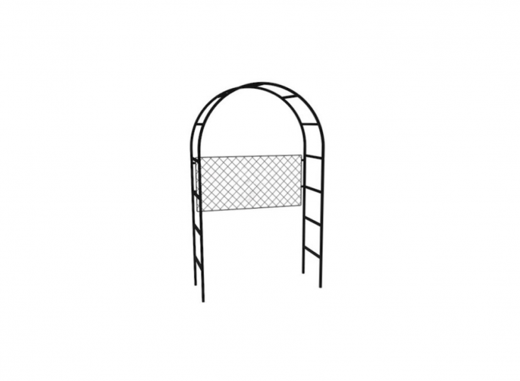 A customizable Roman Arch Arbour is available in three depths and choice of attachable trellis panels to train climbers. All arches are