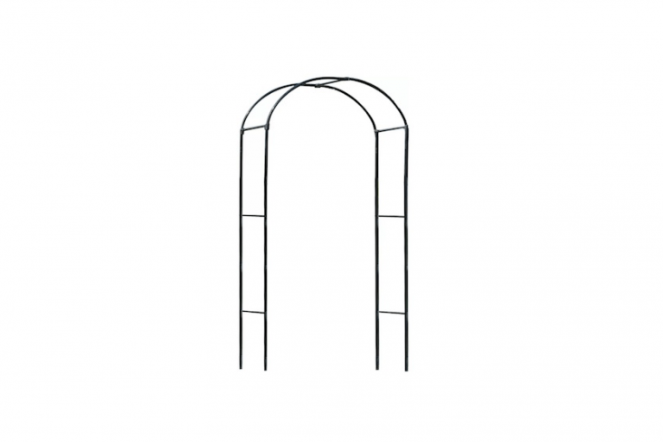 A Steel Arbor with a simple silhouette is 75 inches high and 39 inches wide; $54.99 from Wayfair.