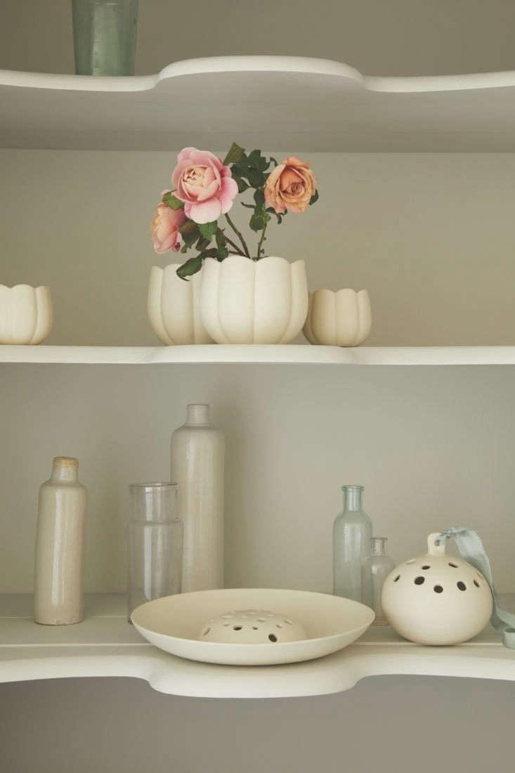 On the lower shelf the Ceramic Flower Frog Bowl, $loading=