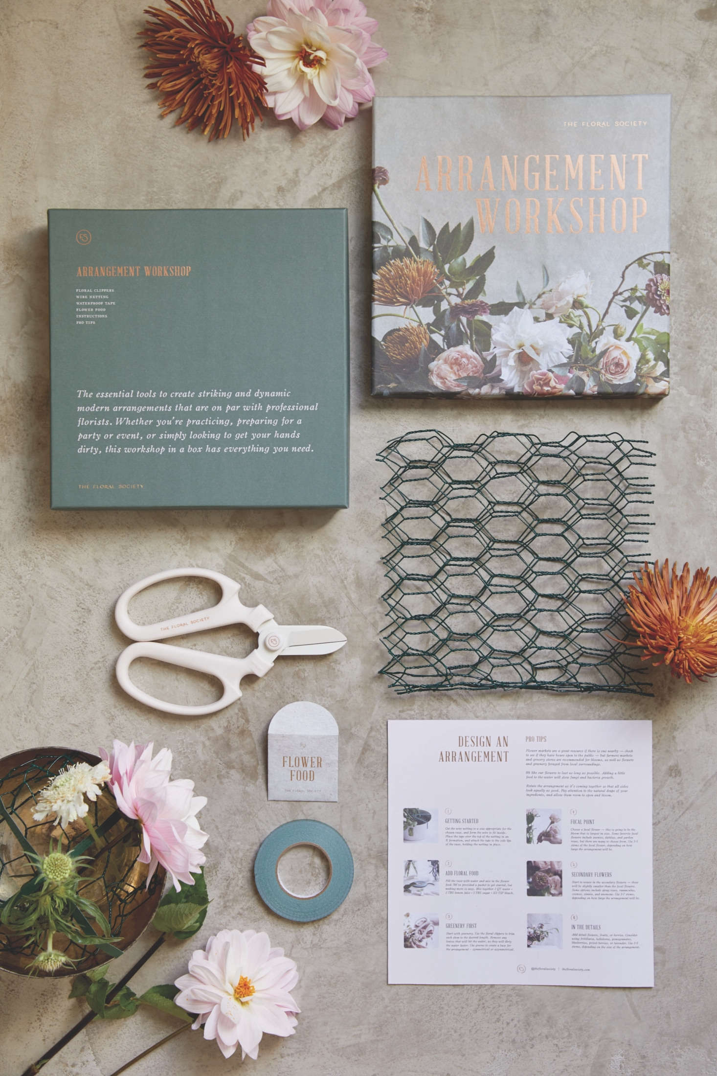 Containing clippers, wire netting, waterproof tape, and instructions, the Arrangement Workshop, $86, gives starting floral designers the essentials. Companion online videos offer guidance in making &#8