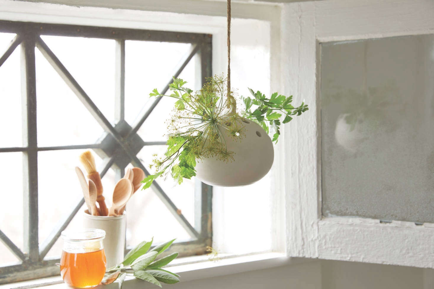 A matte-white-glazed Ceramic Hanging Flower Frog Vase, $56.50, is ideal in the kitchen for holding cut herb sprigs.