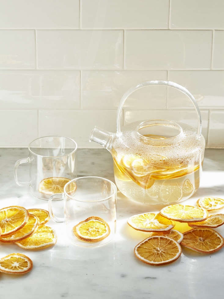 For a delicately flavored citrus tisane, we dried slices of oranges in a dehydrator and then poured boiling water and allowed them to steep. See more tips in The Inside Story on Dried Fruit.