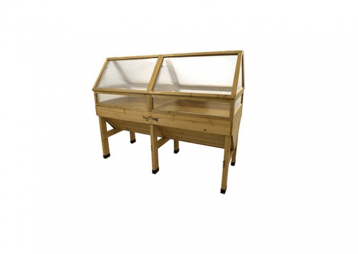 A 7\2-inch-long, wooden VegTrug Cold Frame Elevated Planter Bed is double-insulated with polycarbonate panels and is \$\2\29.99 from Hayneedle.