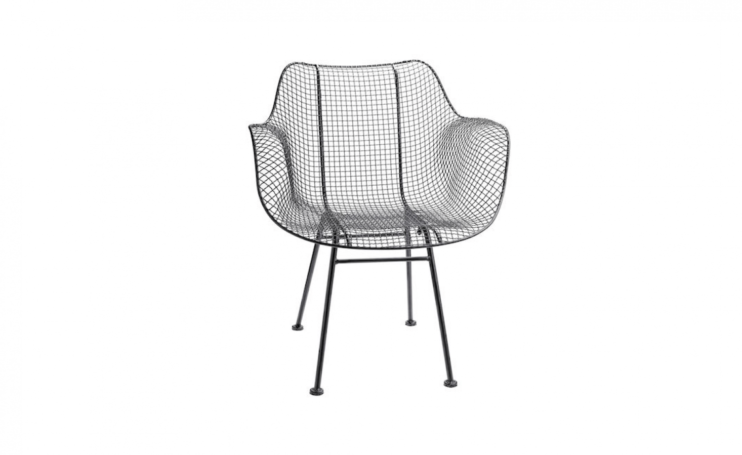 A Modern Wire Chair made of powder-coated metal is suitable for covered outdoor use; currently on sale for $3 from Rejuvenation.