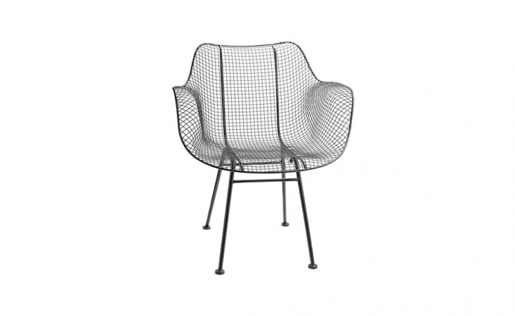 A Modern Wire Chair made of powder-coated metal is suitable for covered outdoor use; currently on sale for \$3\19 from Rejuvenation.