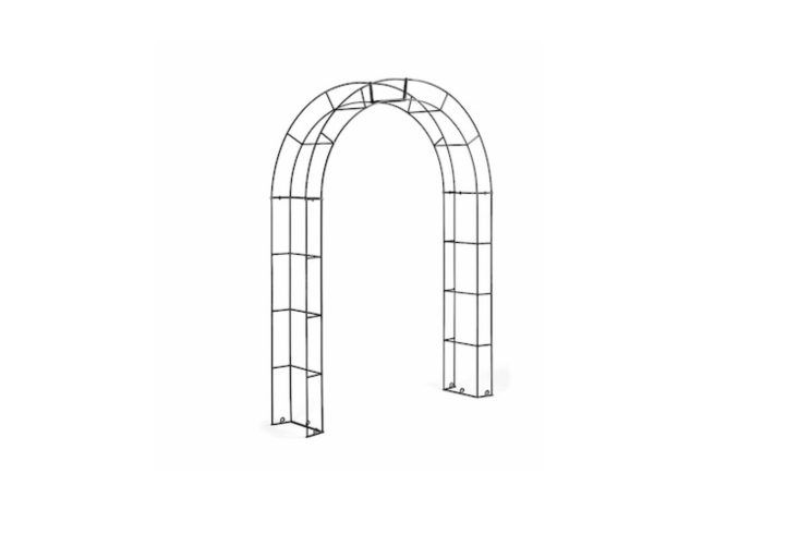 An archedRose Bow Arbor made of steel is 7.7 feet tall and is €3 at Manufactum.