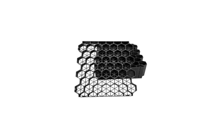 A four-piece set of \19.7-inch-square Permeable Plastic Grass Pavers from Techno Earth is available in black (shown) or green; \$79.95 at Home Depot.