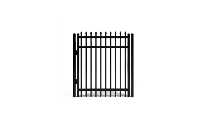 An aluminum Atlanta Walk Gate Kit is available in four heights (from 3 to 6 feet) and four widths (from 3 to 5 feet) and can be customized with finials or an arched top. Hinges, a latch, and a gate post are included in the kit; prices start at $9.65 at Fence Workshop.