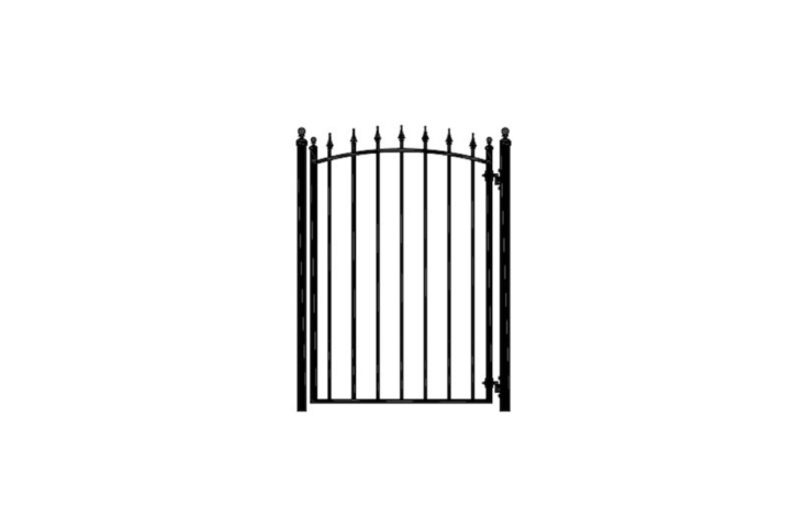 A 4-foot-wide wrought iron Arrow Garden Gate is 65 inches tall;  it comes with a gravity latch and hinges ( Posts are sold separately for $3). The gate is $498 from Amazing Gates.