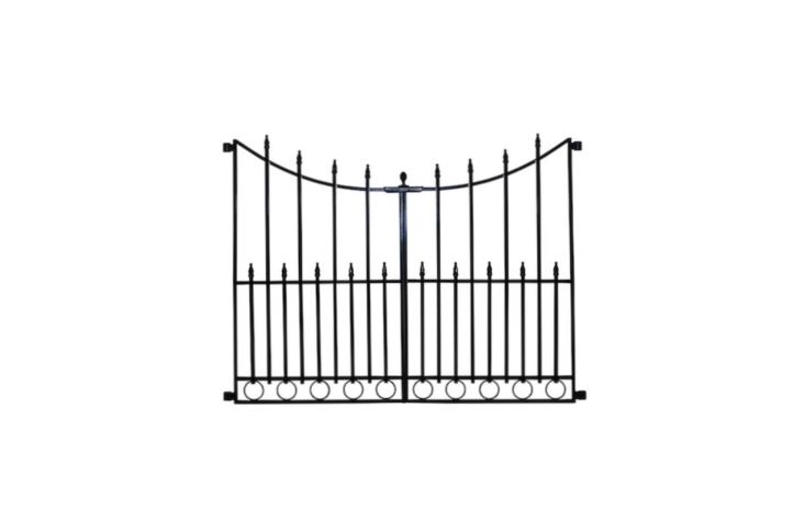 To get the look for less, a steel No Dig Grand Empire Steel Decorative Metal Fence Gate has a rust-resistant powder coated finish and is designed to hang from a Grand Empire No Dig Fence Post And Stake Unit. The post and stake is $8.98 and the gate is $34.98 from Lowe&#8