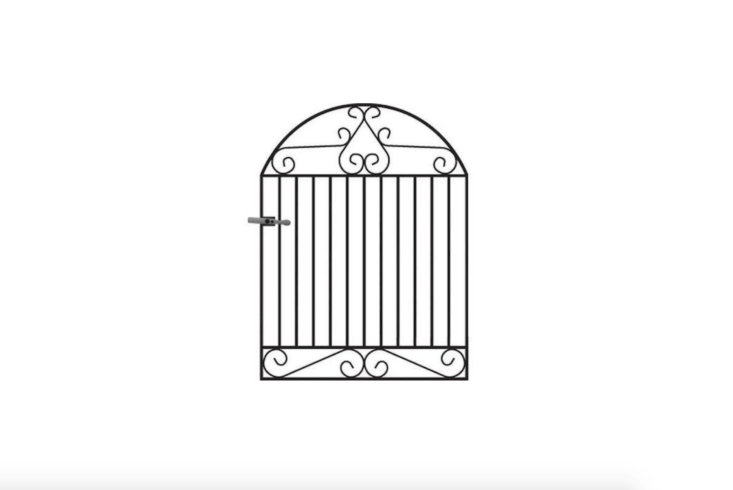 Made of high-strength solid steel in the UK, a 4-foot-high arched Marlborough Arched Wrought Iron Style Metal Garden Gate is available in five widths (up to 4