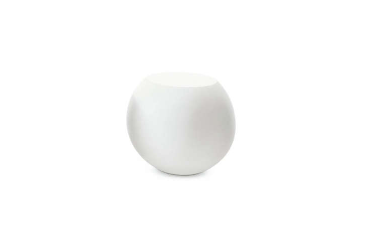 Designed in Italy by Guilio Cappellini, the Bong Table, shown in white-lacquered fiberglass resin, is $984 at Hive.