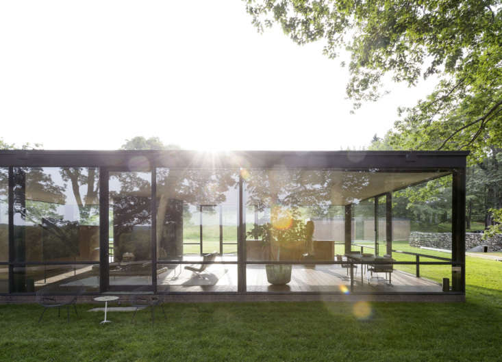 """The lush lawn at Philip Johnson&#8\2\17;s iconic Glass House. Photograph by Matthew Williams for Gardenista, from Glass House Landscape: A """"Permanent Camping Trip"""" for Architect Philip Johnson."""