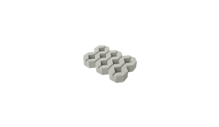 Suitable for driveways, a gray \23-inchGrass Block permeable paver from New Zealand–based Bosun has a diamond pattern with eight full or partial holes to plant grass. For more information and prices, see Bosun.